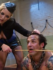 Strict dominatrix gives OTK, CBT, yo-yo worship, brumal milking also a intricate strap-on mental defective fucking to a sizable scrap of prisoner meat