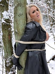 Plenty of outdoor fun in the snow with this tied up blond slut