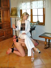 Malesub as chear for blonde mistress