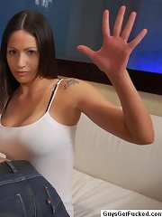 Brunette sex punishes a man\'s naked ass
