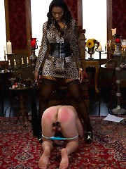 Male captive is dressed monopoly women\\\'s panties, paddled, has his trivial penis made enjoyable of again worships thundering alluring tomfool of ebony mistress