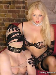 Blonde mistress humiliates slave