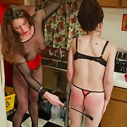 Insulting spankings and tit torture