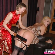 Morose blonde's ass was beating by her up in arms mother.
