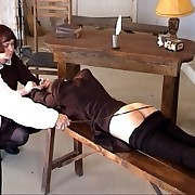 Brutal submissive caning not far from university