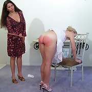 Caning of blond babe