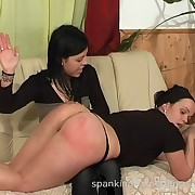 A bad girl was spanked otk and on the floor