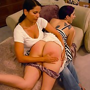 Mother is spanking sexy babe