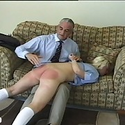 Blond schoolgirls got OTK spanking in turns from strict headmaster