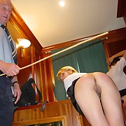 The Punishment Officer seeks to teach two brats with his leather strap