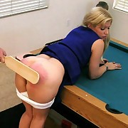 Cheerleader blonde gets paddled
