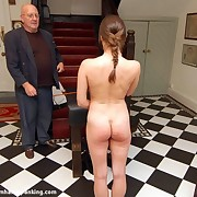 A teen girl gets caned