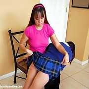 Hot schoolgirl was spanked otk