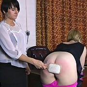 A naughty cheerleader slut had her buttocks punished