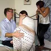 Daddy spanked two chicks otk