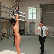 Inmate brunette gets hard whipped