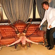 Slave woman got whipped on burnish apply couch