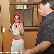 Rookie Valerie Bryant has panties pulled down for a second bare spanking