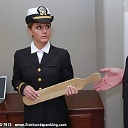 Tears for hottie Kelly Morgan as good-looking cadet is paddled for insubordination