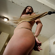 Abyss pussy throb bondage and rough lashes near Angie.