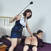 Brutish mistress punishes her lesbian gal