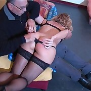 Pretty golden-haired lady in nylons is taken OTK for a sound spanking