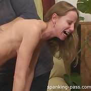 Lustful lass has cruel whips on her backside