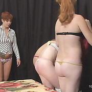 Voluptuous puss has severe whips on her butt