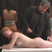 Salacious wench gets brutish spanks on her buttocks
