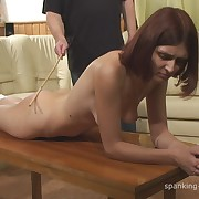 Filthy broad gets grim whips on her backside