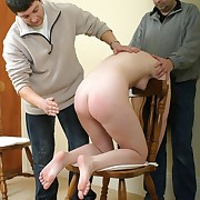 Two men spanking babe
