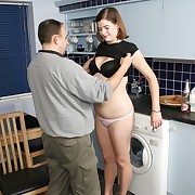 Wife spanked on the kitchen