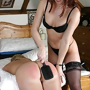 Female spanking beside a catch bedroom