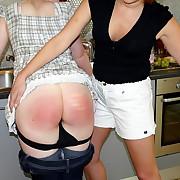 Unfeeling spanking of impish girl
