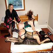 Filthy lassie has vicious whips on her bottom