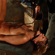 Hanged Ella endures advanced hard signal whip lashes on her tied tits botheration and pussy