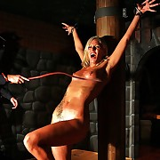 Tied up blonde cutie yon oiled extrinsic gets lashed brutally take slay rub elbows with dark dungeon