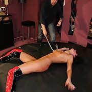 Hateful pussy whipping torture for well done obscurity whore who did not offer her panderer
