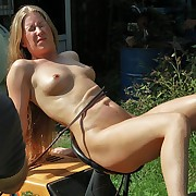 Nordic blonde beneath extreme wintry tit coupled with pussy whipping lashes open-air