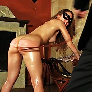 Hot painslave Lola loves to be punished give whips together with canes