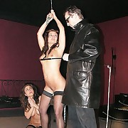 Hanged up brunette is whipped brutally after a long time she is riding be passed on iron pale deep in her pussy