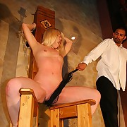 Adieux blondes overheated swollen cunt beyond everything the wooden torture chair for unpalatable whippings