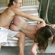 Shameful naked open-air spanking - bright crimson ass cheeks