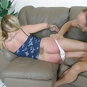 Ravishing blonde goes otk increased by gets the brush alluring ass blistered - burning hot globes