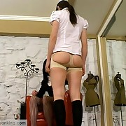 A off somewhere schoolgirl taken over the governess' knees