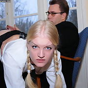 Naked schoolgirl spanked severely with the carpetbeater