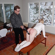 Young schoolgirl on high all fours with her insolent bottom approximately the air