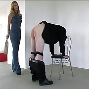 Sorry pauper gets his ass welted with heavy wooden sculler from pretty girl - gaping void crimson buttocks