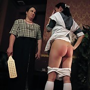 The wooden oarswoman on 2 girls bare-ass bottom