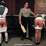 The wooden oarswoman on 2 girls bare-ass bottom